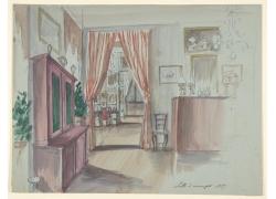 房间里的家具绘画