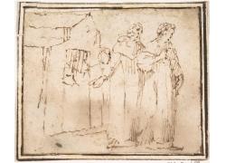 房屋前的男女绘画