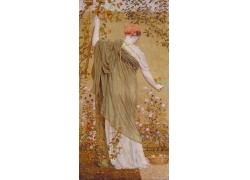 花朵下面的女人背影油画