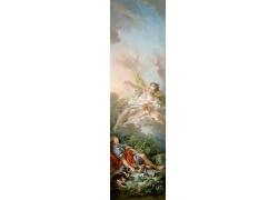 睡觉的男人和空中的女人天使油画