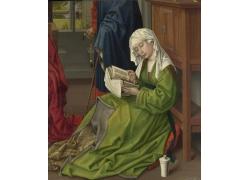 绿色裙子看书的女孩油画图片