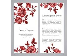 红色浮雕花卉设计宣传卡模板