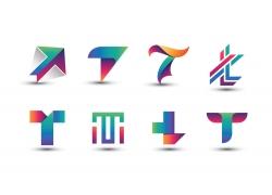 彩色创意字母T标志