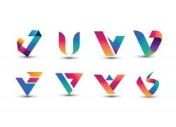彩色创意字母V标志