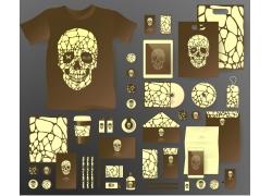 一套创意人头骨VI宣传模板