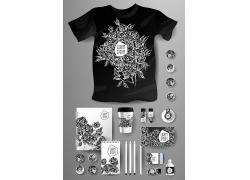 一套黑白花卉VI宣传模板