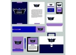 一套蓝紫色VI宣传模板