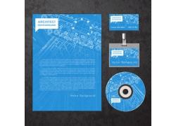 一套蓝色素线VI宣传模板