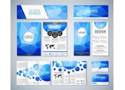 蓝色多边形商务折页传单图片