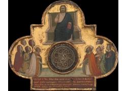 椅子上的耶稣和人物油画