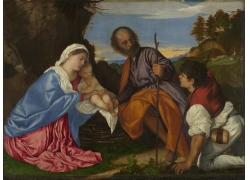 男女和婴儿油画