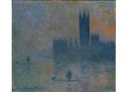 迷雾中的人物和建筑油画