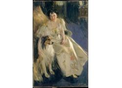 椅子上的女人和狗油画
