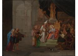 椅子上的圣母和人物油画