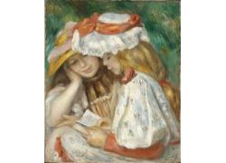 两个看书的女孩油画图片