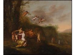 树林里的人物和天使油画