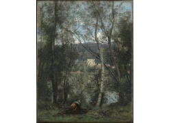 水边女人背影油画