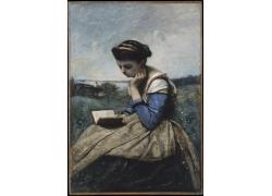 草地上看书的女人油画图片