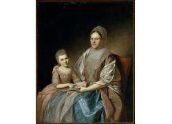 椅子上的女人和女孩油画图片