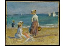 沙滩上的女人和狗油画