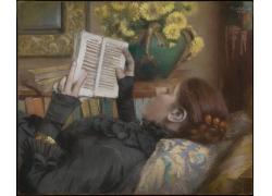 躺着看书的女人油画图片