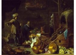 厨房里的人物和蔬菜油画