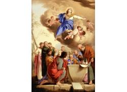 讨论的宗教人物和天使油画