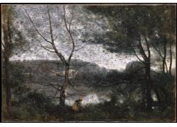 树林里的女孩油画图片