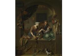 厨房的人物和食材油画