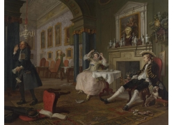房间里倒了的椅子和吓一跳的人物油画