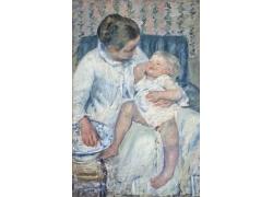 椅子上的女人和婴儿油画