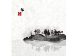 日本水墨山水风景画