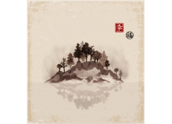 怀旧日本水墨山水画
