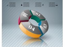 彩色立体拼图圆环信息图表