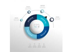 蓝色立体圆环信息图表