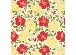 鲜艳的手绘花朵时尚背景