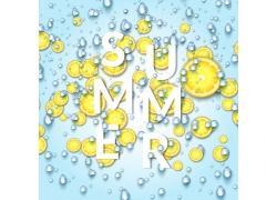 蓝色背景下的柠檬片与字母