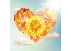 阳光下的树叶与向日葵花