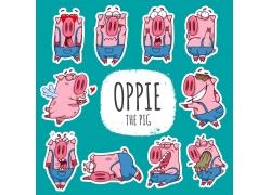 小猪卡通贴纸设计图片