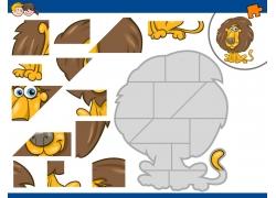 卡通狮子拼图图片