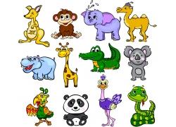 卡通陆地动物漫画图片