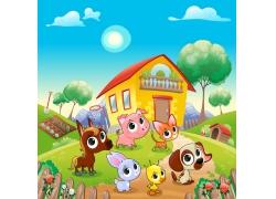 卡通房屋与卡通动物漫画图片