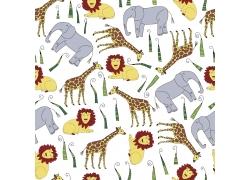 长颈鹿和大象狮子动物图片