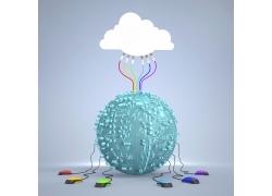 连接云朵和鼠标的电路板地球
