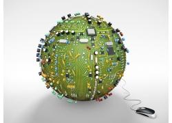 电路板地球和鼠标