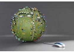 蓝色鼠标和电路板地球