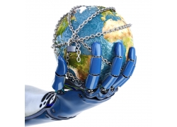 机器人手上带锁链的地球