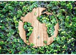 树叶和镂空地球木板