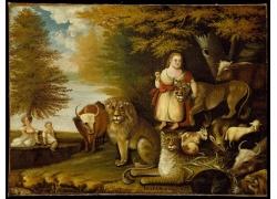 女人和动物油画图片