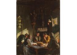 桌子与人物油画